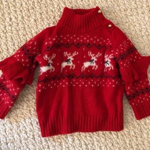 Janie and Jack reindeer ruffle Christmas sweater